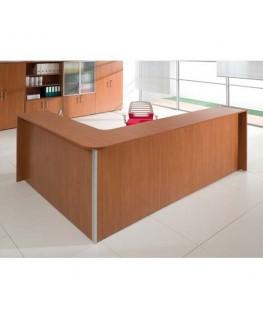 Angle métal concave pour banque d'accueil métal / gris silver / merisier - MT International