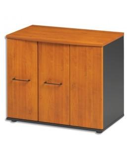 Rangement bas 3 portes dont 1 coulissante + 1 étagère Jazz L80 x H71 x P48 cm Aulne gris anthracite - Gautier Office