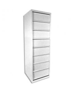 Meuble à clapets 8 cases en métal blanc