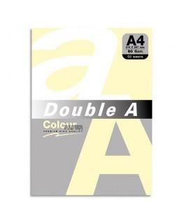 Paquet de 50 feuilles papier couleur 80g A4. Coloris jaune pastel - Double A®