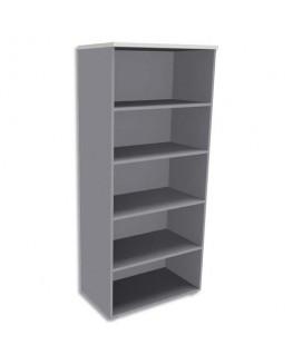 Bibliothèque haute 4 tablettes sans porte aluminium