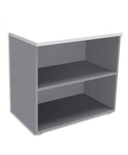 Bibliothèque basse 1 tablette sans porte aluminium
