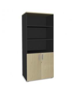 Bibliothèque 2 portes basses Steely Erable carbone en bois