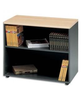 Bibliothèque basse Syracuse avec tablette amovible hêtre anthracite L90 x H74 x P48 cm - MT International