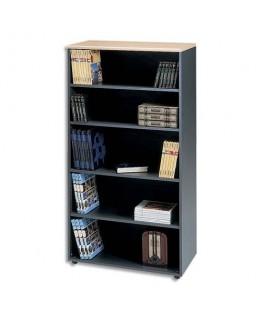 Bibliothèque haute avec tablette fixe + 3 amovibles Syracuse hêtre antharcite L90 x H180 x P48 cm - MT International