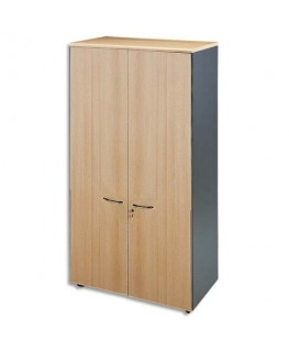 Armoire haute portes pleines 1 tabette fixe + 3 amovibles hêtre antharcite L90 x H180 x P48 cm - MT International