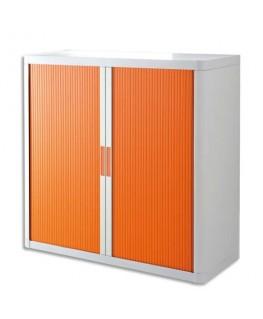 Armoire basse démontable EasyOffice corps polystyrène teinté blanc et rideau orange - Paperflow