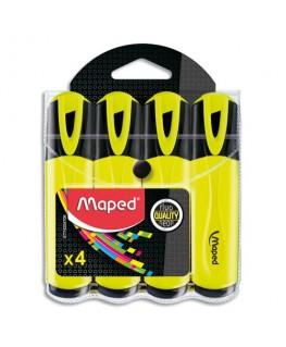 Pochette de 4 surligneurs Fluo'Peps Classic, coloris jaune - Maped®
