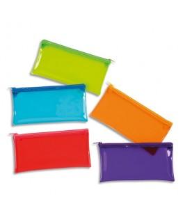 trousse ovale Crystal 22 x 11 x 5 cm en PVC transparent brillant, coloris assortis Viquel