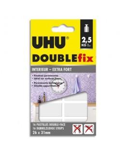 Blister de 16 pastilles UHU® Doublefix ultra-fortes double-face 26 x 31 mm