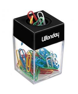 Distributeur magnétique de trombones fourni avec 50 trombones coloris assortis - Wonday®