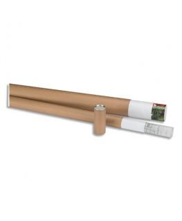 Tube d'expédition en carton brun avec embouts amovibles plastique - Emballage