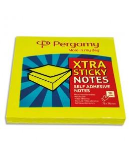 Bloc de 90 feuilles repositionnables Extra Sticky 76 x 76 mm, coloris jaune pastel - Pergamy