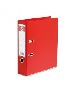 Classeur à levier dos 8 cm plastifié intérieur et extérieur rouge - 5 Etoiles
