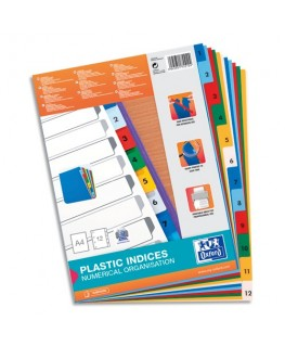 Jeu d'intercalaires numériques A4 en polypropylène 12/100e coloré 12 touches - Oxford