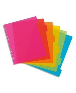 Jeu d'intercalaires en polypropylène Happyfluo A4 maxi, coloris fluo multicolores - Viquel
