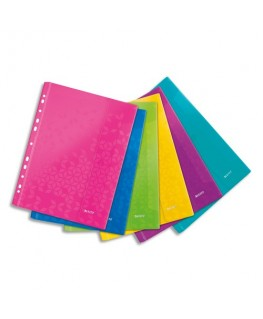 Sachet de 6 pochettes perforées WOW en polypropylène A4, coloris assortis - Leitz®