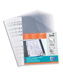 Sachets de 10 pochettes perforées en polypropylène 9/100e, format A4, transparent - Oxford