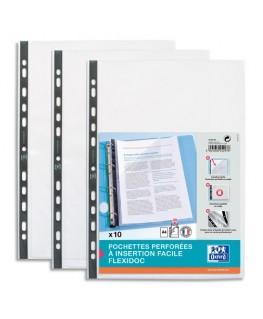 Sachet de 10 pochettes perforées FLEXIDOC en polypropylène lisse 8/100e