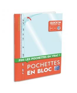 Boîte de pochettes perforées Quick'In en polypropylène incolore, A4 - Oxford