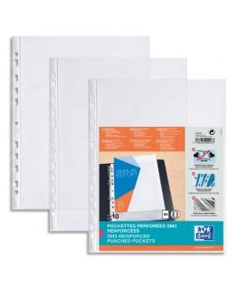 Sachet de 10 pochettes perforées SM3 en PVC 10/100e, transparent - Oxford