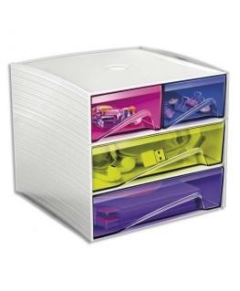 Module de rangement 3 étages, 4 compartiments, L18.6 x P18.5 x H17.5 cm, coloris blanc/Assortis - CEP