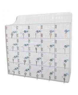Bloc de 20 casiers transparent en acrylique, à serrure, 20 clefs différentes, L53 x H53 x P18 cm - Viso