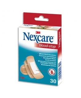 Boîte de 30 pansements Blood-Stop assortis, micro-aéré, avec compresse hémostatique non-tissée - Nexcare by 3M