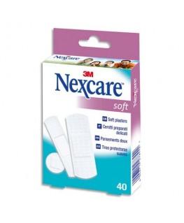 Boîte de 40 pansements Soft assortis, non tissé, micro-perforé, compresse absorbante - Nexcare by 3M