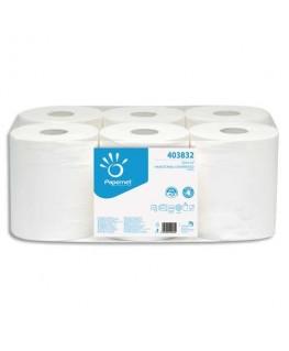 Paquet de 6 Bobines d'essuyage à dévidage central 2 plis pure cellulose, 450 formats L108 m Blanc - Papernet