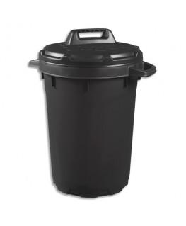 Poubelle noire en polypropylène 90L, avec couvercle à verrou tournant, ∅ 49 x Hauteur 75 cm - CEP