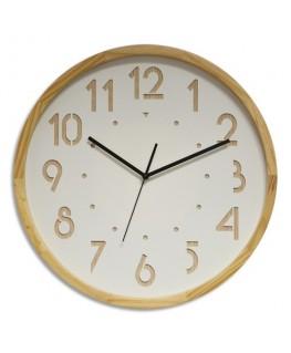 Horloge Oslo à cadran blanc et chiffre en bois, contour bois, mouvement Quartz, D41.6 cm x P4.5 cm - Orium®