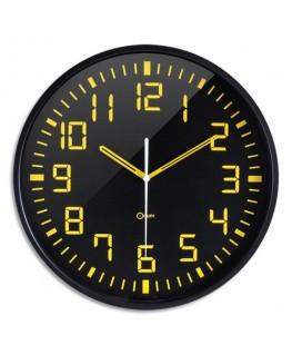Horloge Contraste à cadran Noir chiffres Jaunes, ABS et Verre minéral, Quartz sweep, D30 cm x P3 cm - Orium®