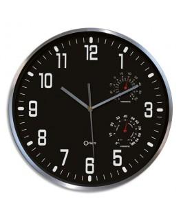 Horloge Thermo-Hygro à cadran Noir chiffres Blancs, en aluminuim, Quartz sweep, D30 cm x P5 cm - Orium®