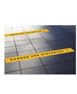 Lot 4 stickers pour sol 68 x 8 cm : 2 ''Gardez vos distances'' et 2 ''Merci de Patienter''