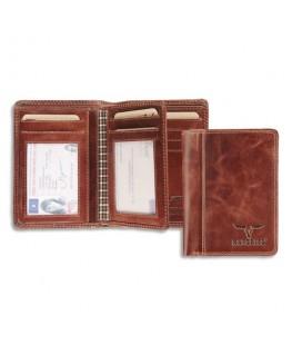 Portefeuille Dalian RFID cuir marron, 2 poches fenêtres, capacité 10 cartes, 9 x 12.5 cm - Brepols