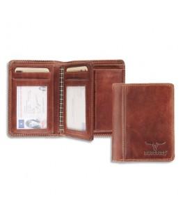 Portefeuille Dalian RFID cuir marron, 2 poches : fenêtre et monnaie, 6 cartes, 9.5 x 12.5 cm - Brepols