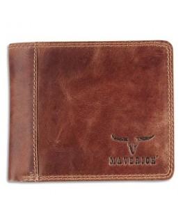 Porte-monnaie RFID, 2 poches, 8 compartiments, poche monnaie, 11 x 9 cm en cuir Marron - Brepols
