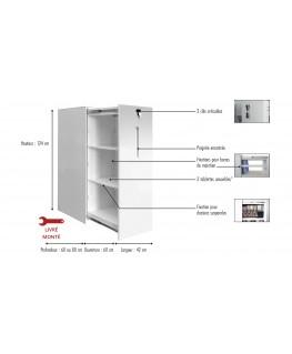 Classeur monobloc Blanc en métal, 2 tablettes amovibles, L42 x H124 x P60 cm - MT International