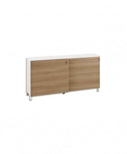 Crédence Sunday, 2 portes coulissantes chêne, serrure, 2 tablettes, 160 x 79 x 43 cm, top blanc - Gautier Office