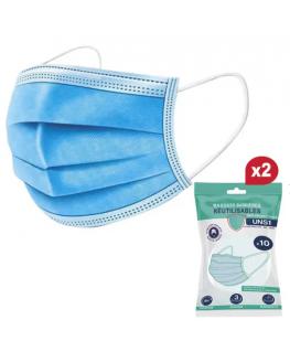 Pack de 10 masques barrières lavables 10 fois,UNS1 anti-projection, filtre supérieur à 90% + 1 pack de 10 offert