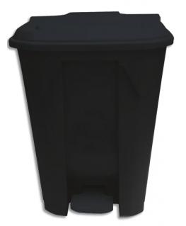 Collecteur à pédale noir en polyéthylène couvercle coloris aléatoire 80L, L49.3 x H71 x P49.3 cm