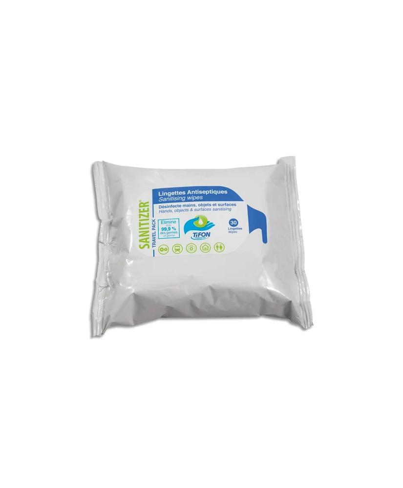 Paquet 30 lingettes humides 20x20 cm pour désinfection des mains et surfaces, actif sur coronavirus