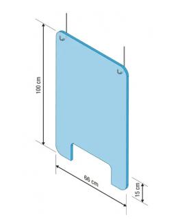 Vitre protection PMMA à suspendre, kit de fixation et fenêtre ouverture 15 cm, 100 x 66 cm