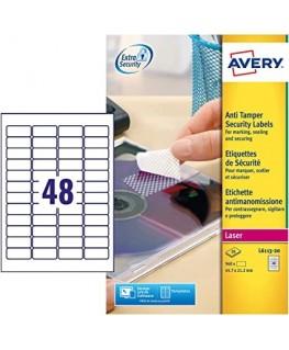 Boîte de 960 étiquettes de sécurité polyester Laser blanc L6113-20 - Avery®