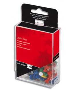 Boîte de 100 push pins coloris opaque assortis - 5 Etoiles