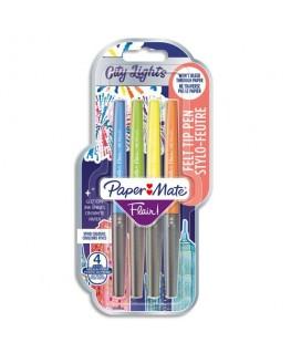 4 stylos feutre pointe en nylon largeur de trait 0.7 mm Flair® Metalic - Paper Mate®