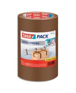 Lot de 3 adhésifs d'emballage Extra Strong en PVC, 52 microns - H50 mm x L66 m, havane - Tesa®