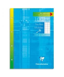 Etui 100 copies simples 90g perforées blanches A4 Seyès pour Déficient Visuel - Clairefontaine