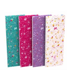 Bloc Floral agrafé en tête 160 pages lignées 6 mm, 7.4 x 21 cm coloris assortis - Oxford